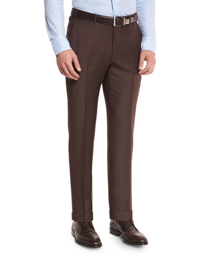 Twill Trofeo Wool Flat-Front Trousers, Tobacco