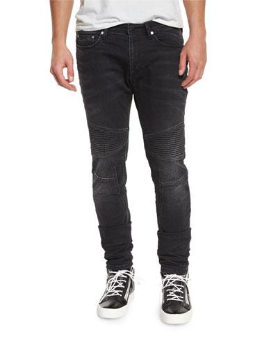 Skinny Moto Denim Jeans, Slate Gray