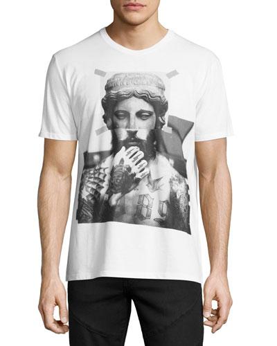 Tattooed Statue Graphic T-Shirt, White