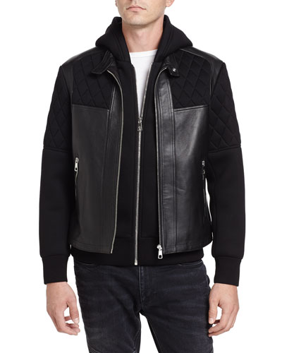 Quilted Leather-Trim Double-Layer Hooded Jacket, Black