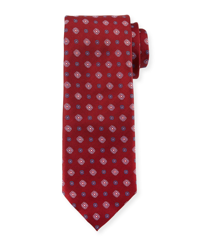 Woven Foulard Silk Tie, Burgundy