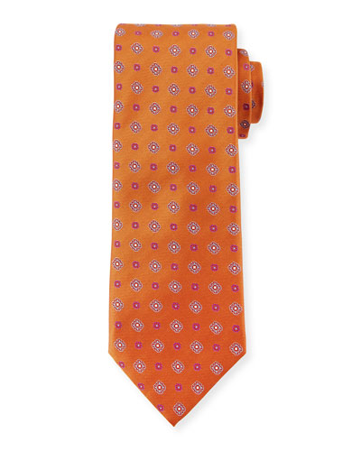 Woven Foulard Silk Tie, Rust