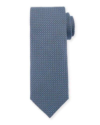 Micro-Print Woven Silk Tie, Light Blue
