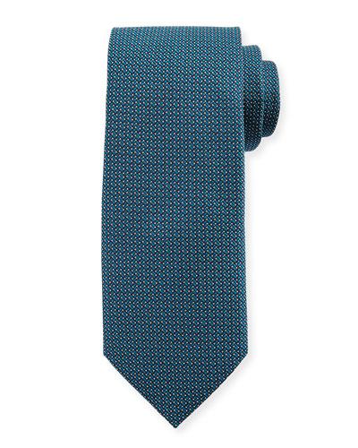 Micro-Pattern Silk Tie, Aqua