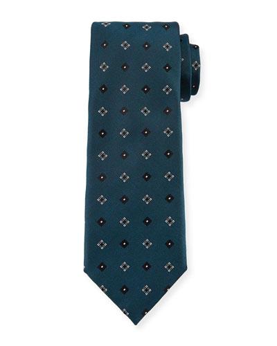 Box-Pattern Woven Silk Tie, Green