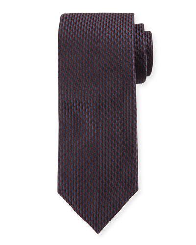 Woven Micro-Geometric Silk Tie, Burgundy