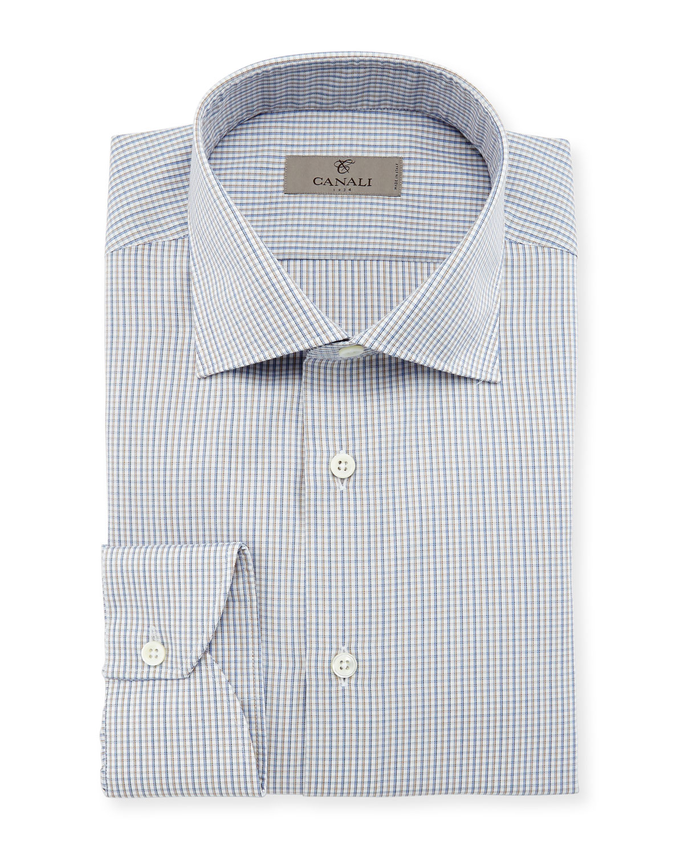 Micro-Gingham Dress Shirt, Tan