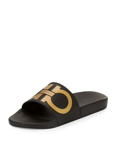 Groove Gancini Slide Sandal, Black/Gold