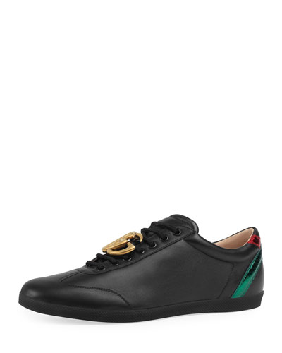 Bambi GG Leather Low-Top Sneaker, Black
