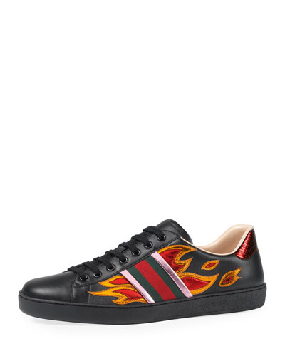 New Ace Flames Leather Low-Top Sneaker, Black