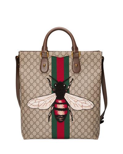 Men's Bee-Embroidered GG Supreme Canvas Tote Bag, Tan