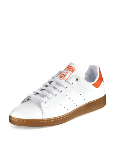 Stan Smith Perforated Leather Sneaker, White/Orange