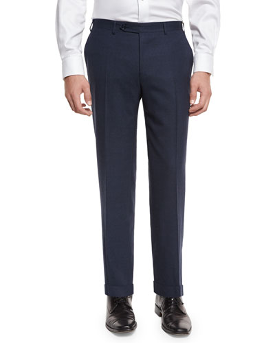 Heathered Flat-Front Trousers, Navy
