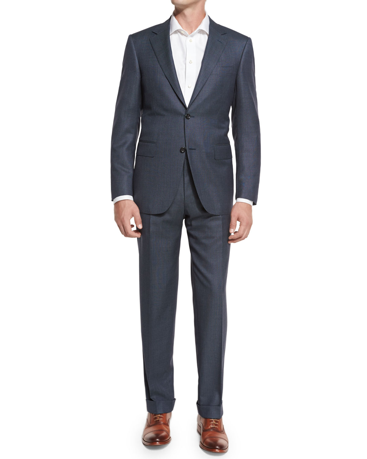 Nailhead Super 130s Wool Two-Piece Suit, Gray
