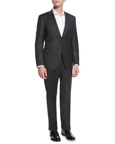 Tonal Check Super 130s Wool Two-Piece Suit, Gray