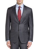 Sharkskin Super 130s Wool Two-Piece Suit, Gray
