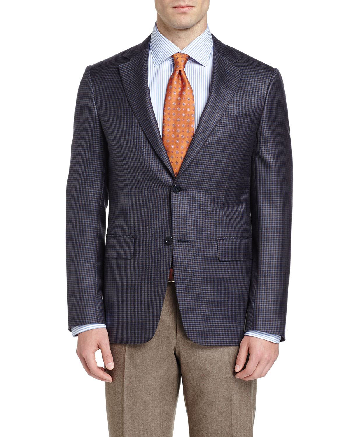 Check Two-Button Sport Coat, Light Blue/Brown