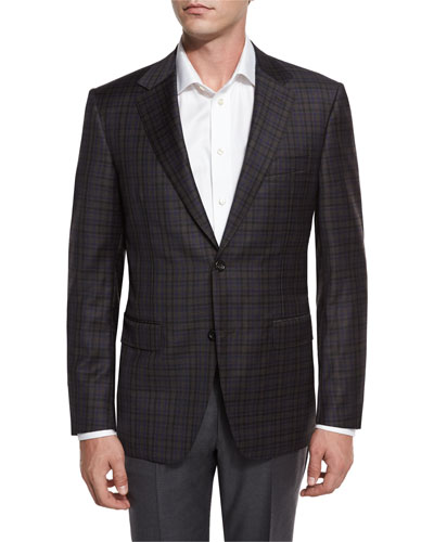 Check Super 130s Wool Two-Button Sport Coat, Brown/Blue