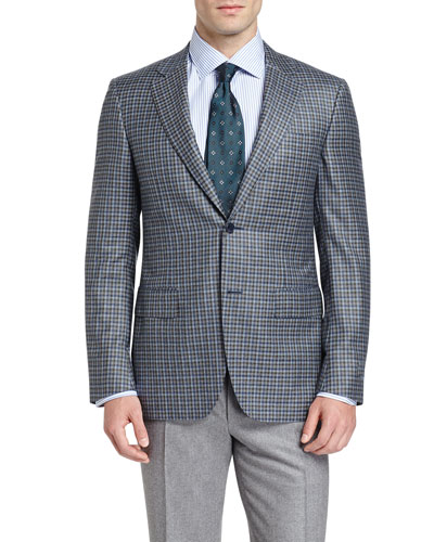 Check Two-Button Sport Coat, Green