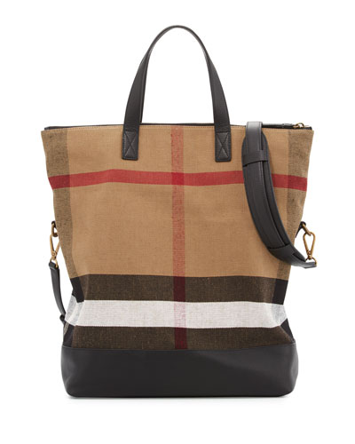 Armley Men's House Check Canvas & Leather Tote Bag, Black