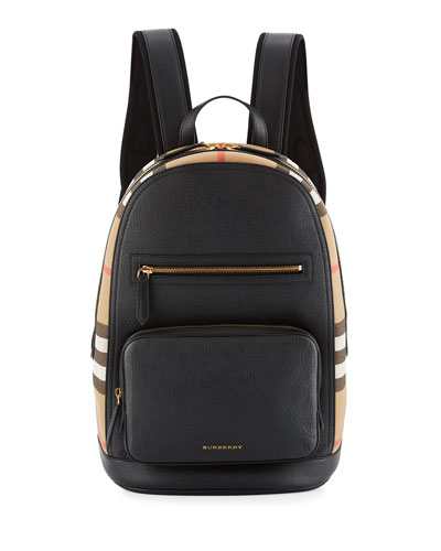 Men's Leather & House Check Backpack