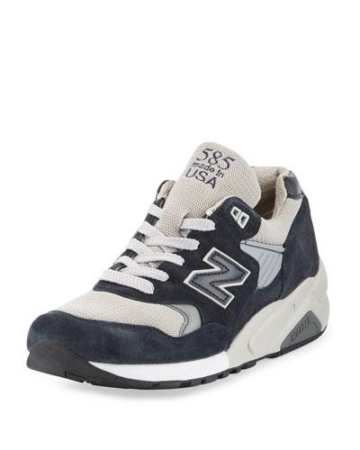 585 Bringback Suede-Mesh Sneaker, Navy/Gray