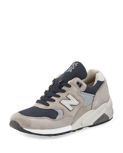 585 Bringback Suede-Mesh Sneaker, Gray/Navy