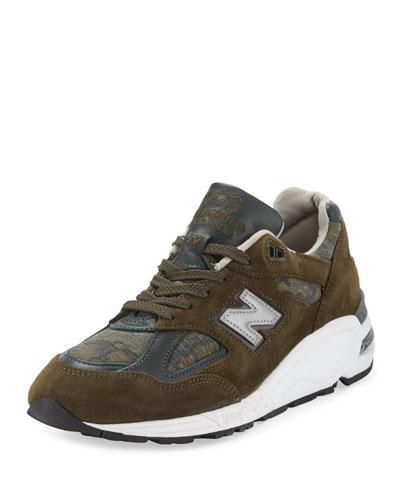 Men's 990 Distinct Leather-Suede Sneaker, Green-Olive