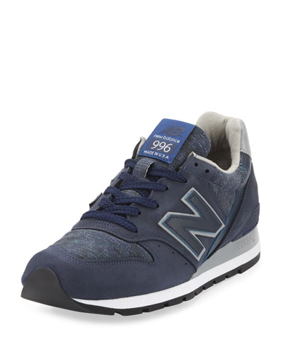 996 Distinct Age of Exploration Suede-Leather Sneaker, Navy/Silver