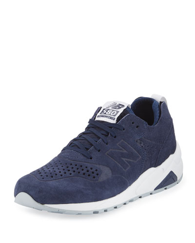 580 Deconstructed Suede Sneaker, Blue/Silver