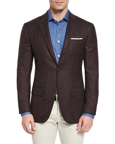 Plaid Cashmere Two-Button Sport Coat, Burgundy