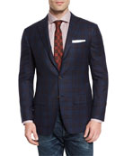 Plaid Cashmere Sport Coat, Navy/Burgundy