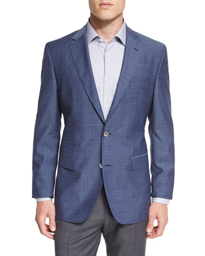 Hutsons Mini-Check Slim-Fit Wool Sport Coat, Navy