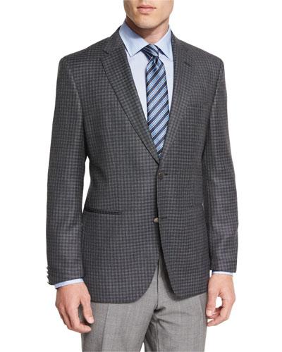 Jorden Mini-Check Slim-Fit Wool Sport Coat, Gray