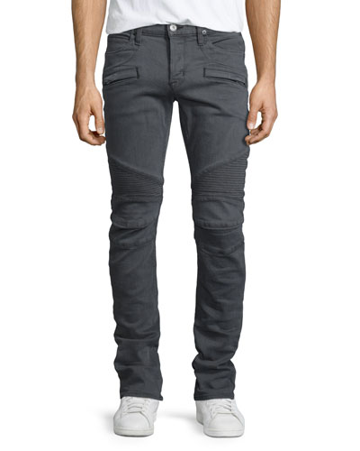 Blinder Biker Moto Slim-Straight Jeans, Light Gray