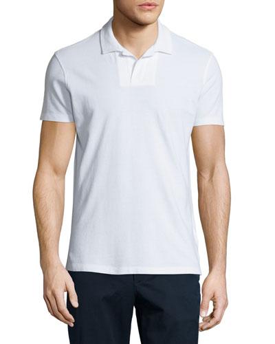 Felix Johnny-Collar Waffle Polo Shirt, White