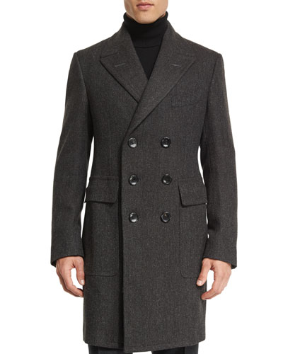 Classic Herringbone Double-Breasted Tailored Coat