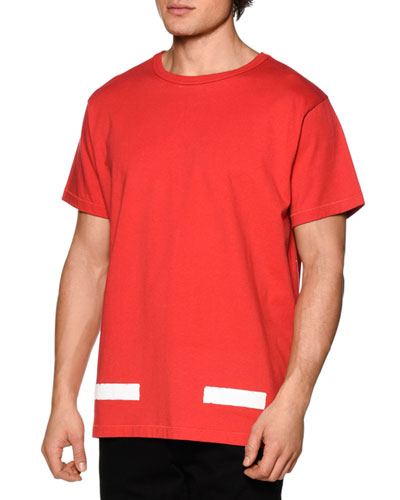 Brushed Lines Short-Sleeve Graphic T-Shirt, Red/White