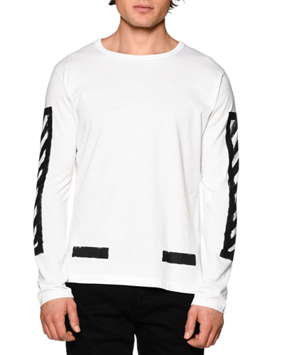 Brushed Lines Long-Sleeve Graphic T-Shirt, White/Black