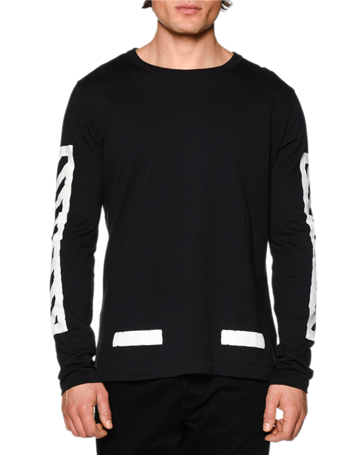 Brushed Lines Long-Sleeve Graphic T-Shirt, Black/White