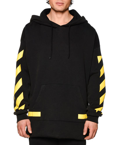 Pullover Hoodie w/Arrows, Black/Yellow