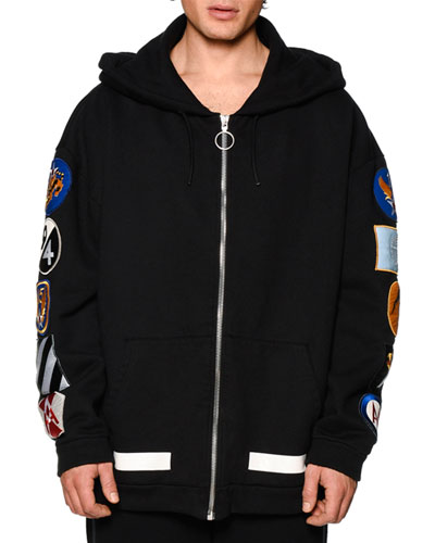 Zip-Up Hoodie w/Arm Patches, Black/White
