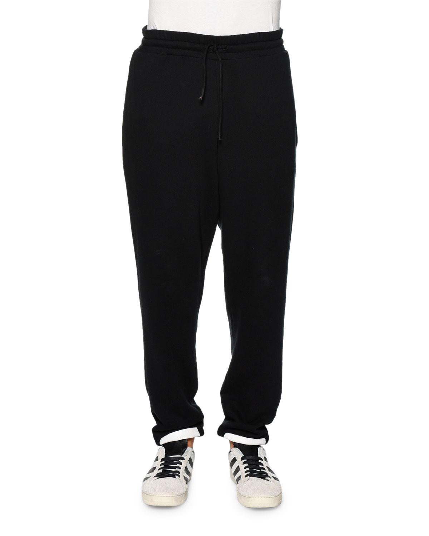 Brushed-Stripes Drawstring Sweatpants, Black/White