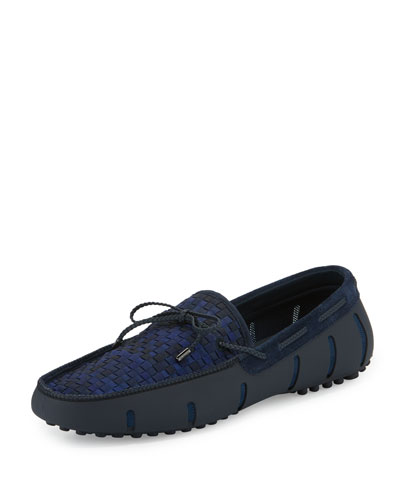 Woven-Top Lace Loafer, Navy