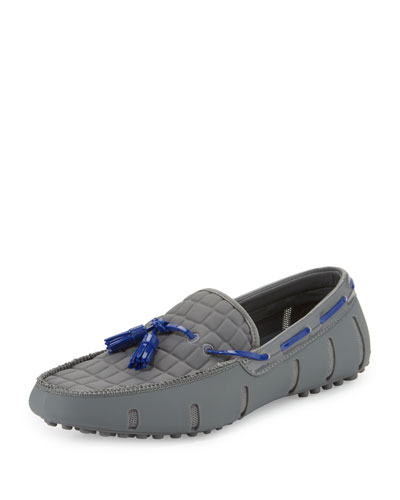 Rubber Tassel Loafer with Faux-Croc Trim, Gray
