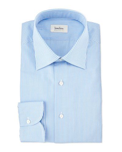 Gingham Long-Sleeve Dress Shirt, Blue