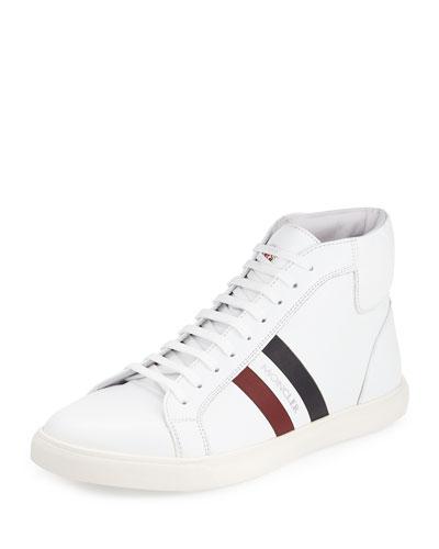 Monte Carlo Striped Leather High-Top Sneaker, White