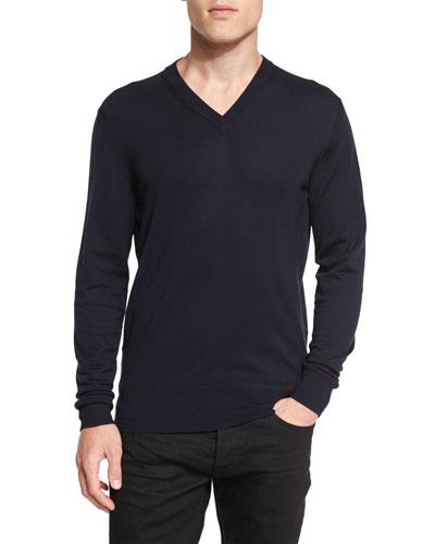 Lightweight Merino V-Neck Sweater, Navy