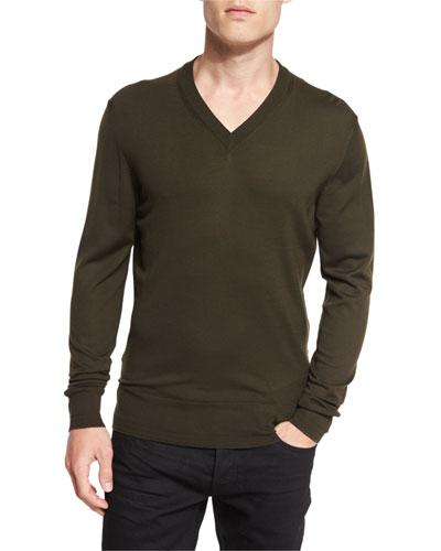 Lightweight Merino V-Neck Sweater, Olive