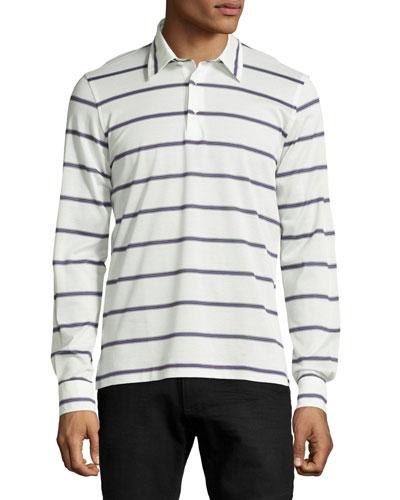 Striped Long-Sleeve Polo Shirt, Lilac